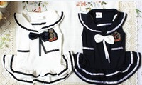2 COLORS Pet clothes Navy style BOW Princess Dog Clothes Dress XS,S,M,L ,XL,XXL,NEW