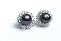 8MM Black Akoya Cultured Pearl Earring silver stud AAA+