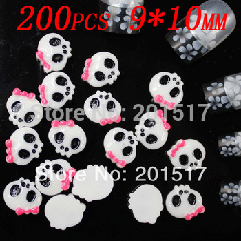 200pcs 10x9mm white with rose bow Lovely Skull  nail salons Manicure nail products