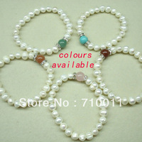 Free Shipping-Factory Wholesale Exquisite 8mm Natrual Freshwater Pearl Bungee Bracelet,12pcs/lot,Pearl Jewellery