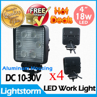 4piece~18w square worklight,1500LM,12/24V DC~Flood beam,LED work lamp~led working lamp~Hotsale~Free shipping~Aluminium material