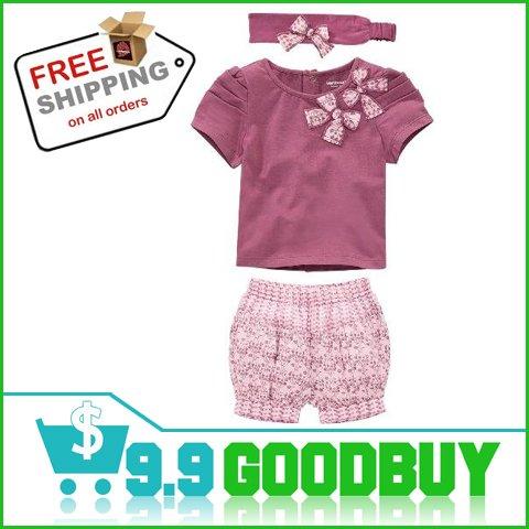 Комплект одежды для девочек Baby Girls Clothing Set Baby Suits Wear Children's Clothes, 3-piece Set=Headband+Shirt+Pant