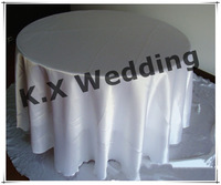 """90"""" Inch Round White Satin Table Cloth"""