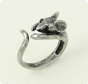 Min Order $6 Hot Korea Jewelry Plastic Eyes Retro Cute Mouse Rings Jewelry SR026(China (Mainland))