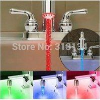 2pcs 3 Color RGB Glow  No battery Automatic Temperature Sensor  Shower LED Light Water Faucet Tap wholesale Dropshipping