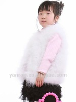 YR-494C Real children's fur waistcoat girl's feather gilet~Drop shipping~wholesale~retail