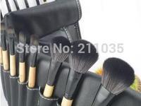 Hot Sale wholesale  high quality sheepskin Pro Makeup Cosmetic Brush 32pcs Set + Soft Case 5piece/1lot R96
