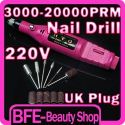 Hot Item 20,000RPM 220V Electric Pen Shape Nail Art Tips Nail Drill Free Shipping UK Plug(China (Mainland))