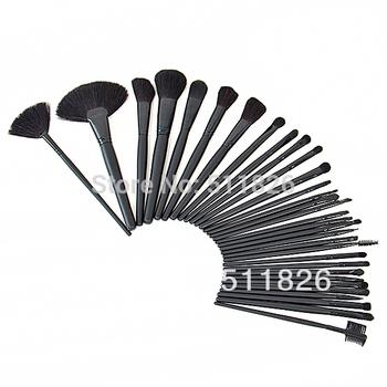 Beauty 32Pcs Cosmetic Facial Makeup Set Brush 32 Pcs Make Up Set Brush Tool + Black Leacher Case Free Ship & Drop Ship 8154