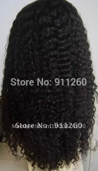 "Free Shipping! 18"",#1B,Kinky Curl,Indian Human Hair,Lace Front Wigs,"",8""-24"" Small,Medium,Large Size In Stock"