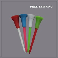 Free Shipping! Hot! 100 x Multi Color 3 3/8 inch Plastic Golf Tees Rubber Cushion Top Golfer Club