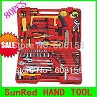 SunRed BESTIR TAIWAN BRAND 80PCS Socket Tool Set Multifunctional mechanics tool set practical Vehicle Tool kit NO.92107