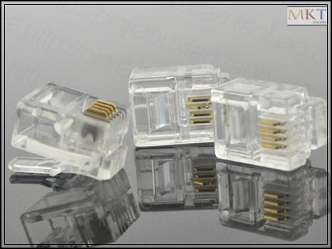 Wholesale (100Pcs/lot) 6P4C 6 Pins 4 Contacts RJ11 Telephone Modular Plug Jack,RJ11 Connector(China (Mainland))