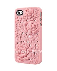 free shipping+MOQ=1PCS 3D Engraved Rose Flower Hard Case for iPhone 4S/iPhone with packing(China (Mainland))
