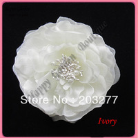 Free shipping!12pcs/lot 7colors for your pick 4''  pearl center peony silk flower  wedding flower brooch pin hair clip