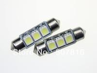 Free shipping hot selling 10pcs white LED light 36mm 3 SMD 5050  NO Error Canbus car light lamp