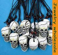 12 pcs Imitation yak bone carving skull pendant necklace G-30