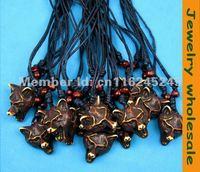12 pcs Imitation yak bone carving ethnic tribal brown Wolf pendant necklace G-34