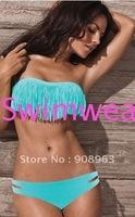 holiday sale tassels bikini/Hot selling swimwear/ TURQUOISE Fringe Bikini