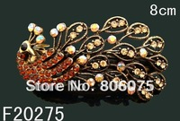 Wholesale Women's vintage zinc alloy rhinestone peacock hair clip hair ornament  Free shipping 12pcs/lot Mixed colors F20275