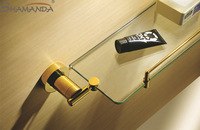 ree Shipping Golden Single bathroom Shelf/glass shelf,Brass Made Base+glass shelf,Bathroom Hardware,Bathroom Accessories-63011