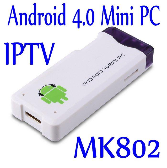 Free Shipping White Android 4.0 Mini PC IPTV Google Internet TV Smart Android Box DDR3 1GB 4GB Allwinner A10 MK802(China (Mainland))