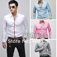New Korean Fashion Stylish Casual shirts Slim Fit Long Sleeve Men's Shirt Tops 4 Color 4 Size Free shipping 5183