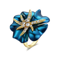 Wholesale Fashion Jewelry 18K Rose Gold Plated  Blue Turquoise Flower Starfish Rhinestone Cocktail Ring Relogio Feminino R128R1