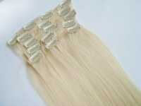 Clip In Remy Human Hair Extensions 7pcs/set #60 lightest Blonde 16/30inch free shipping