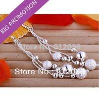 Christmas Gift ! Ladies Silver Mesh Bead Long Dangle Earrings Wholesale Fashion Triple Line of Beans Earrings Vintage Jewelry