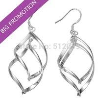 Fashion Jewelry 925 Silver Plated Earrings Leave Shape Earrings Big Hooks Drop Earrings Africa Dangle Earrings Nickel Free
