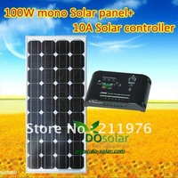 100W solar panel kit including 1PCS MONO 100W solar panel+1PCS 10A solar charging controller for 12V car battery in  stock