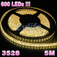 600 LEDs!!! 5m 12v warm white smd 3528 flexible led strip light led ribbon for christmas decoration waterproof