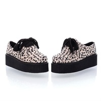 Wholesale 2012 NEW Faux Suede Leopard Lace Up Punk Goth High Platform Flat Creeper Shoes 2 Color,Free Shopping