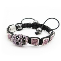Free shipping Square with Skull jewelry Shamballa bracelet nature beads bracelet jewelry fingdings 3pcs/lot  wholesale