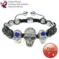 FREE SHIPPING Rainso Crystal Skull Bracelet Shamballa Skull  Bracelet Skulls For Jewelry SHA-225SBW