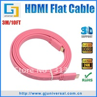 Free Shipping 3M 10FT 1080P HDMI Flat Cable 1.4,1.4 HDMI  Flat Cable,3D Ethernet 1080P 4K*2K HDMI Cable for LCD  HDTV  DVD  PS3