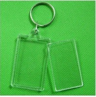 "Free Shipping  170pcs Blank Acrylic Rectangle Keychains Insert 2""x 1.25""Photo Keyrings (Key ring chain)"