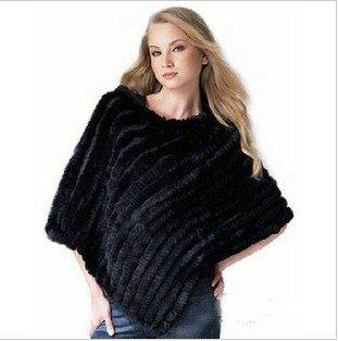 Genuine Rabbit fur poncho Ladies' classic rabbit fur shawl fur jacket retail/Wholesale free shipping TF017(China (Mainland))