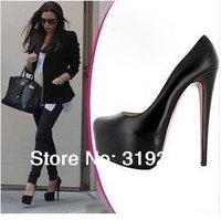 Free Shipping Hot Sale Women Sexy Fashion 14cm High Heel Platform PU Black Pumps Shoes for Women/Ladies Pumps Size:35-39 L221
