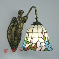 Direct manufacturers Mermaid simple blue wall Tiffany mirror balcony aisle lamps American stained glass lighting