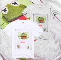 Supreme tee men's shirt  2pcs/lot free shipping funny kermit frog t shirt