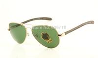 Designer Alloy Sunglass Fashion Sunglasses Men's/Women's Brand 8307 High Carbon Metal Gold Sunglass Green Lens 58mm Box