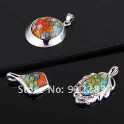 Free Shipping Wholesale 3pcs Mix Shape Millefiori Murano Lampwork Glass Pendants(China (Mainland))