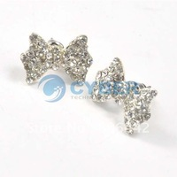Sliver Butterfly Stud Earrings Lovely Cute Rhinestone Rings Crystal Bowknot Free Shipping