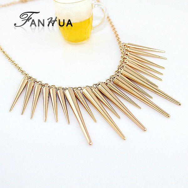 Gold Color Alloy Exaggerate Spike Punk Necklace New 2014 Fashion Individual New Style Bijoux Women(China (Mainland))