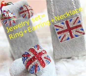 Union Jacket Collection jewelry set Ring + Earring + Necklace full UK flage ring earring necklace casual jewerly set