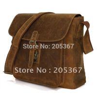 Hot Sale Cowboy Crazy Horse Leather Men's Briefcase Sling Bag Leather Messenger Bag # 7111B