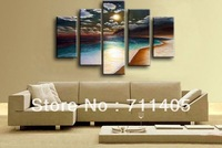 Framed Hand Paint seascape 5 pieces beach sea oil painting canvas art home decoration wall art oil painting Free shipping A-002