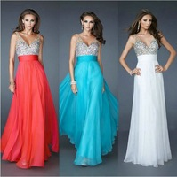 Sleeveless Blue Water Melon White Chiffon Floor Length Sexy Evening Dresses With Crystals 2014